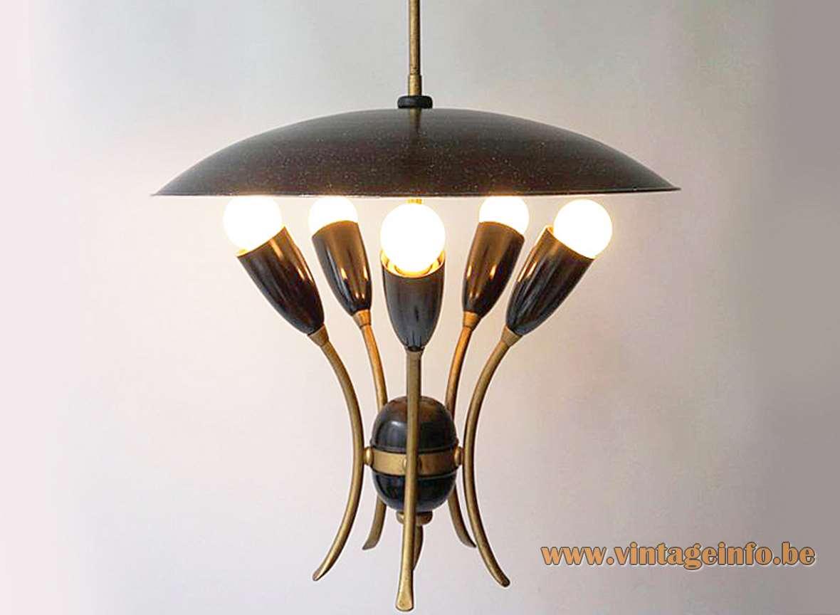 1950s uplighter pendant lamp black mushroom lampshade curved rods 5 conical light bulb holders 1960s E27 sockets