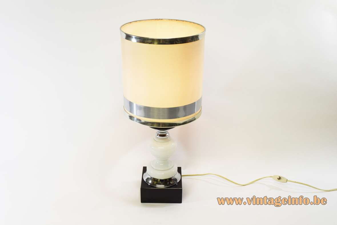 1970s Black & White Table Lamp