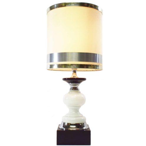 1970s black & white table lamp chrome, square base opal glass fabric lampshade 3 rings Massive Belgium MCM