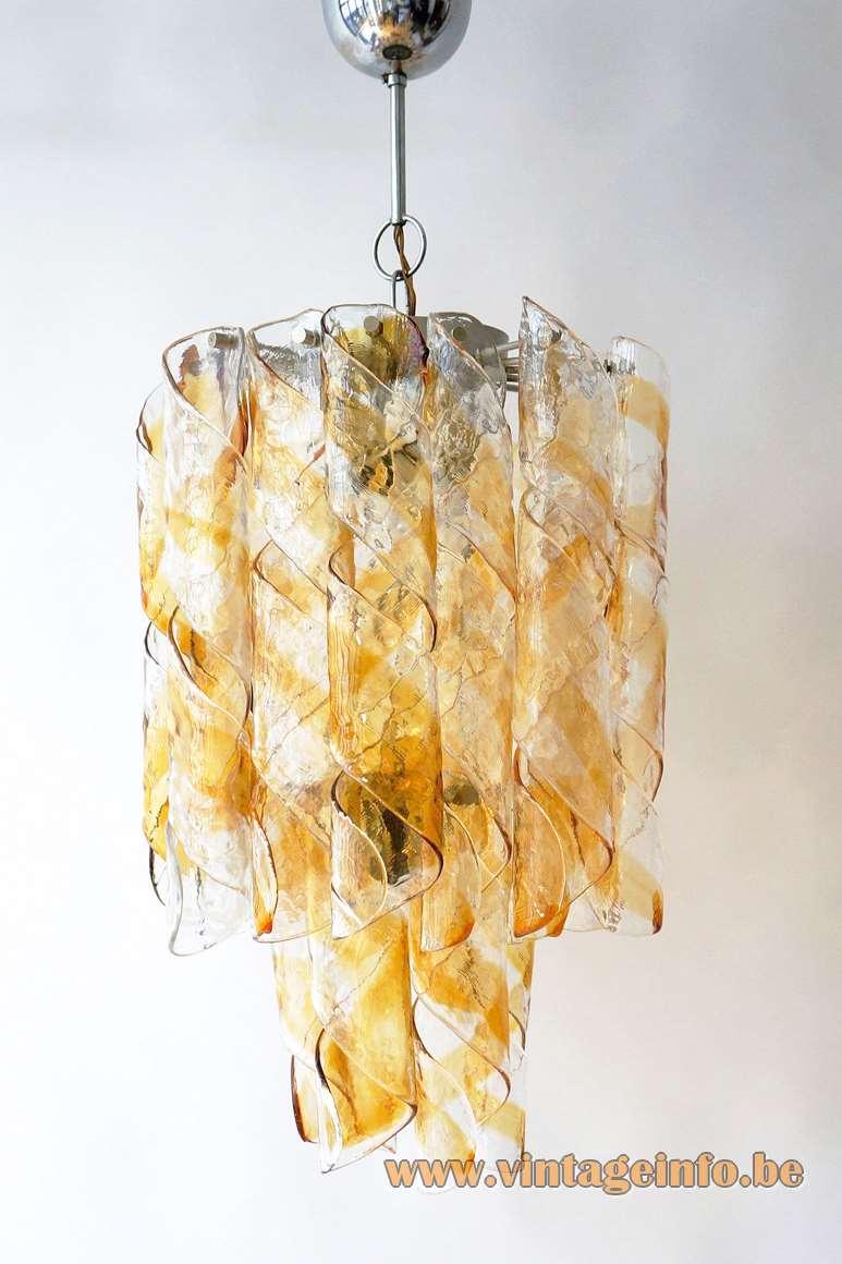 AV Mazzega chandelier 22 amber brown orange & clear glass swirl spirals Murano Italy chrome frame 1960s 1970s MCM Mid-Century Modern