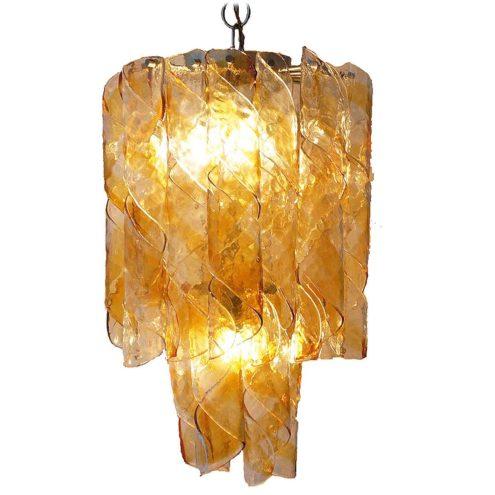 AV Mazzega swirl chandelier design: Carlo Nason amber orange Murano glass spirals chrome frame 1960s 1970s