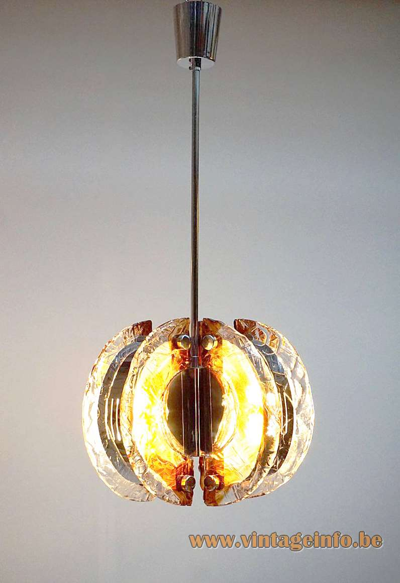 Angelo Brotto amber glass chandelier half circles chrome moon citrus parts Esperia Italy biography 1970s MCM
