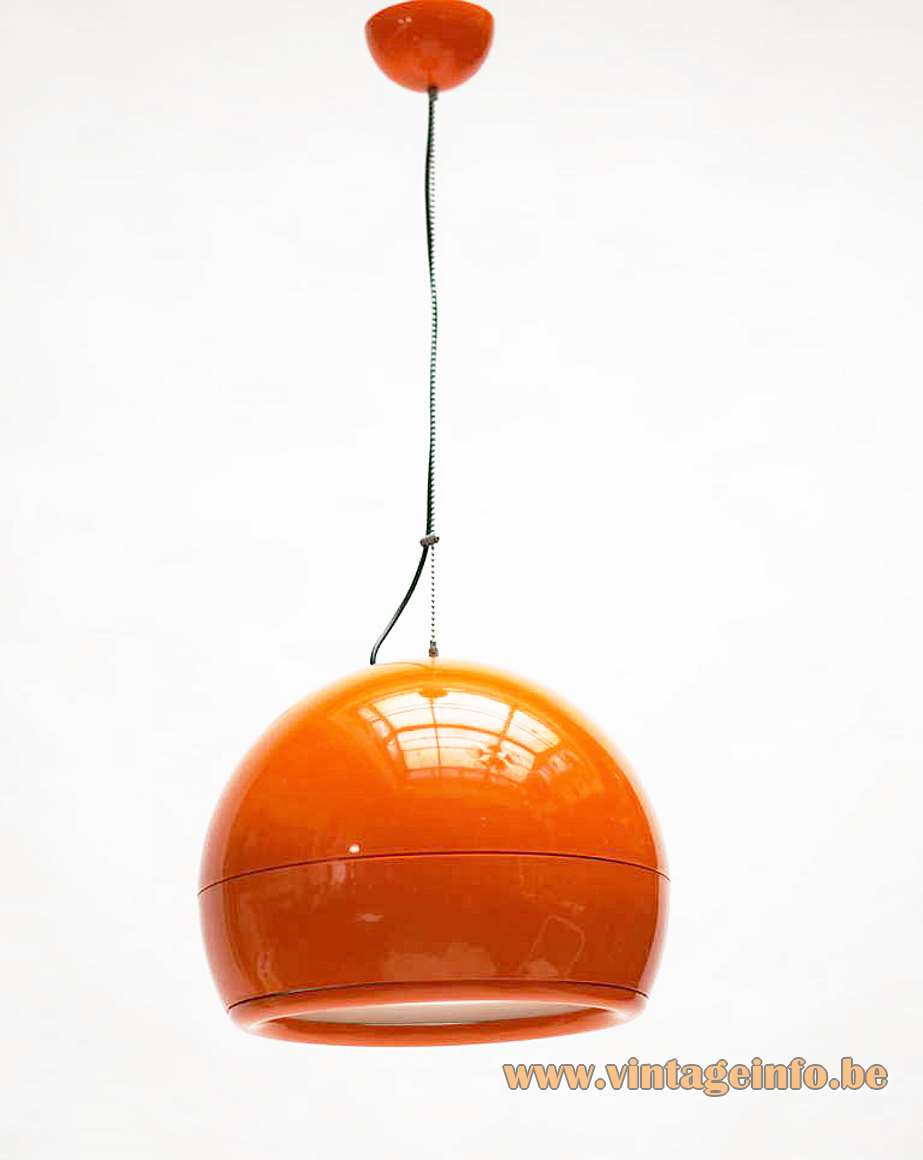 Artemide Pallade pendant lamp 1960s design Big orange-red globe lampshade white round diffuser 1970s Italy