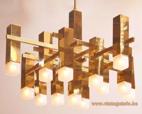 Boulanger square tubes chandelier brass 1970s Gaetano Sciolari Neolamp cube light bulbs Pope MCM vintage