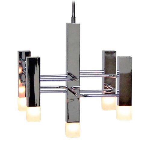 Boulanger square tubes chandelier chrome folded rods design: Gaetano Sciolari Neolamp cube bulbs 1970s vintage Belgium
