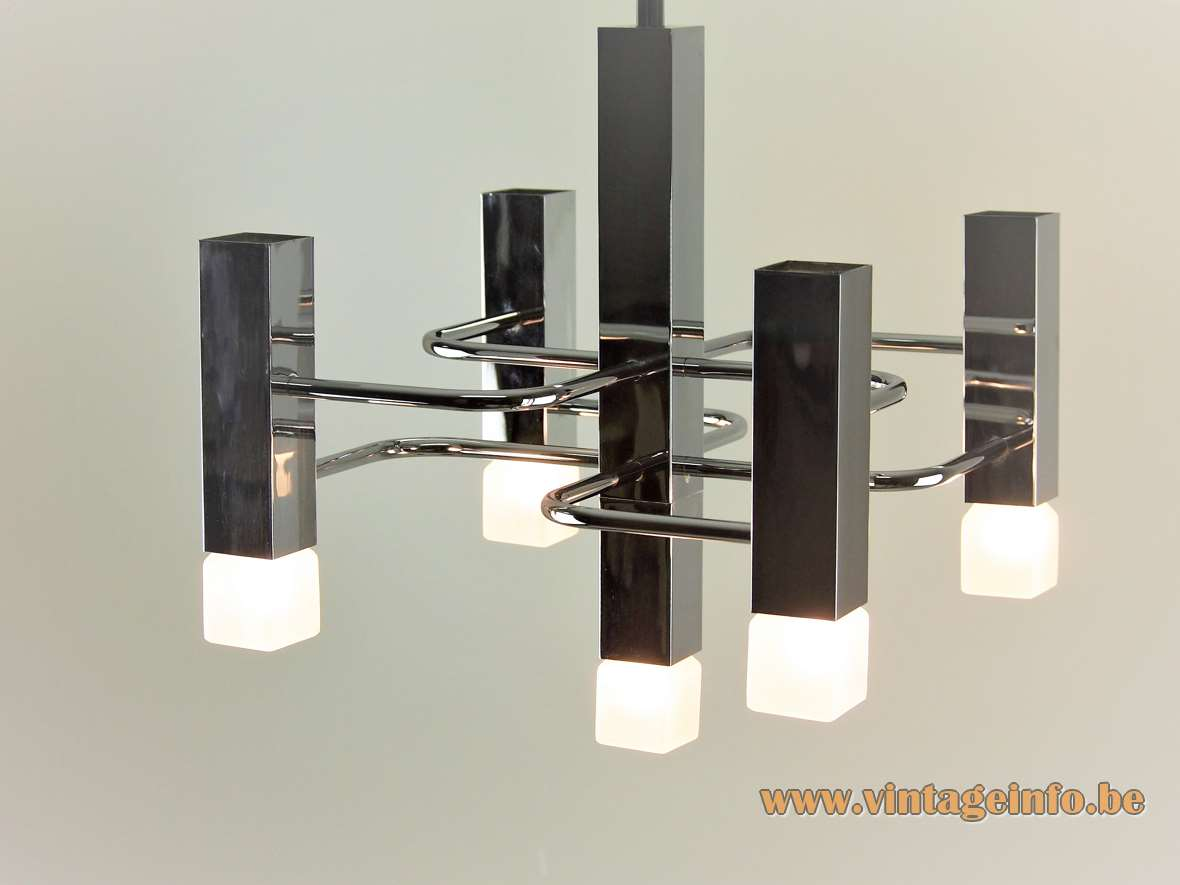 Boulanger square tubes chandelier design: Gaetano Sciolari folded chrome rods & beams lampshade Neolamp cube bulbs 1970s