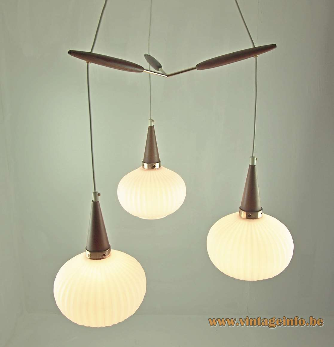 1950s cascade pendant chandelier ribbed opal glass lampshades wood conical rods 1960s Massive Belgium Louis Kalff