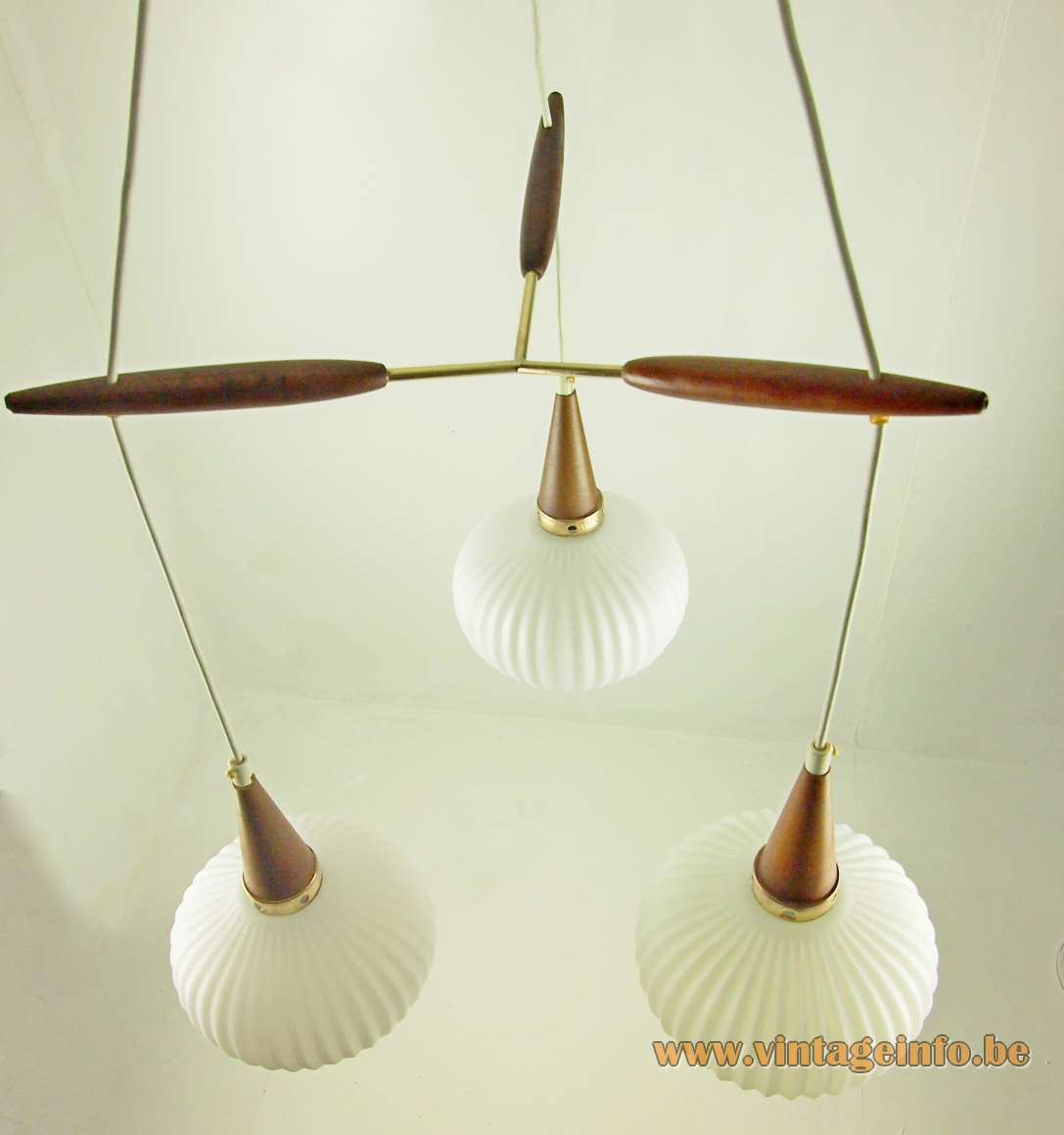 1950s cascade pendant chandelier Louis Kalff Philips style ribbed opal glass wood brass 1960s Massive Belgium