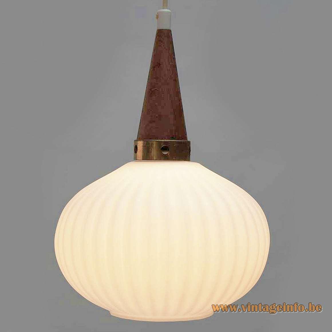 Cascade 1950s chandelier Louis Kalff Philips style pendants ribbed opal glass wood brass 1960s Massive Belgium