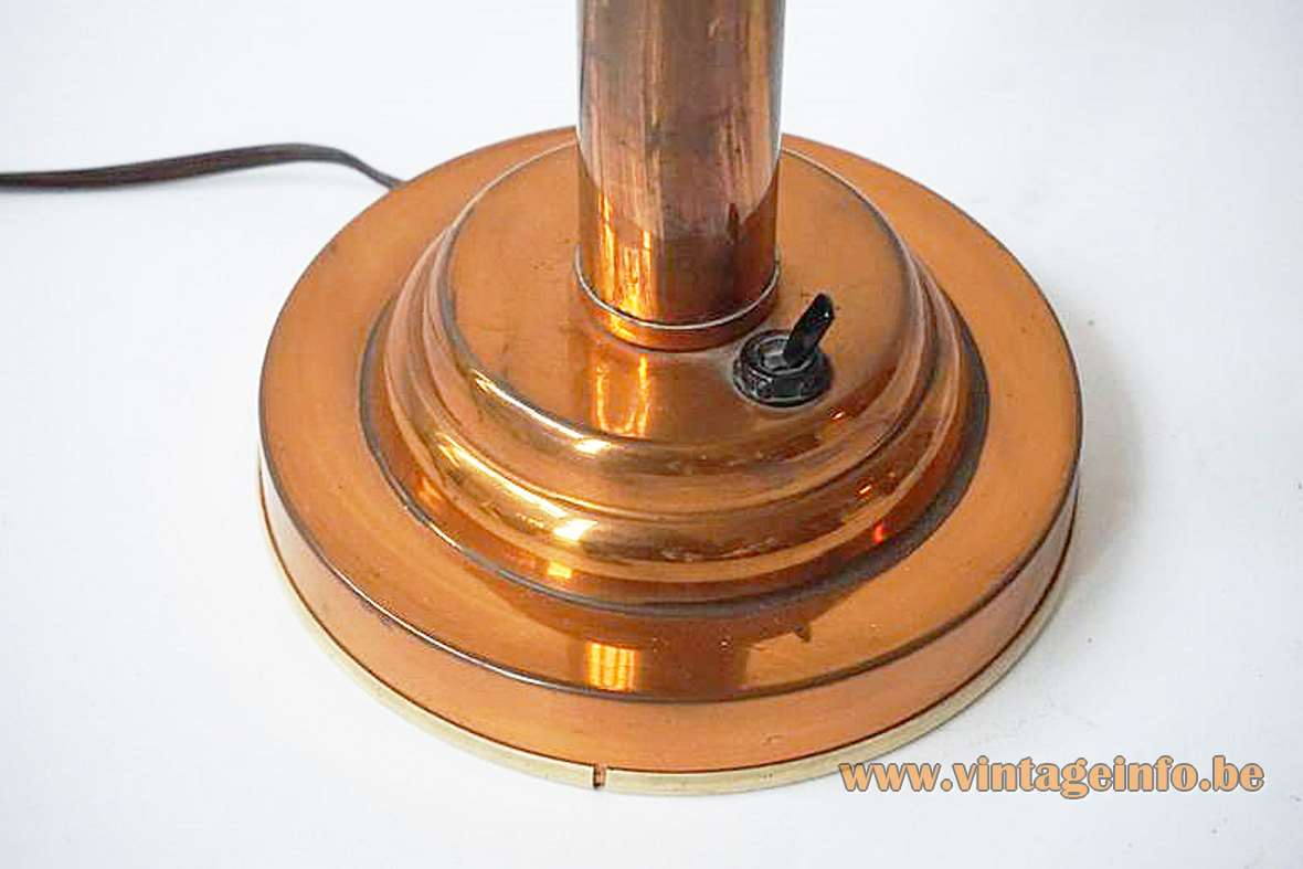 Copper art deco table lamp round layered base & rod Bauhaus 1920s 1930s 1940s E27 socket