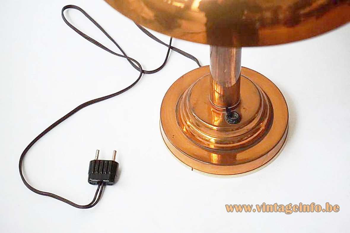 Copper art deco table lamp round base & rod mushroom lampshade Bauhaus 1920s 1930s 1940s E27 socket