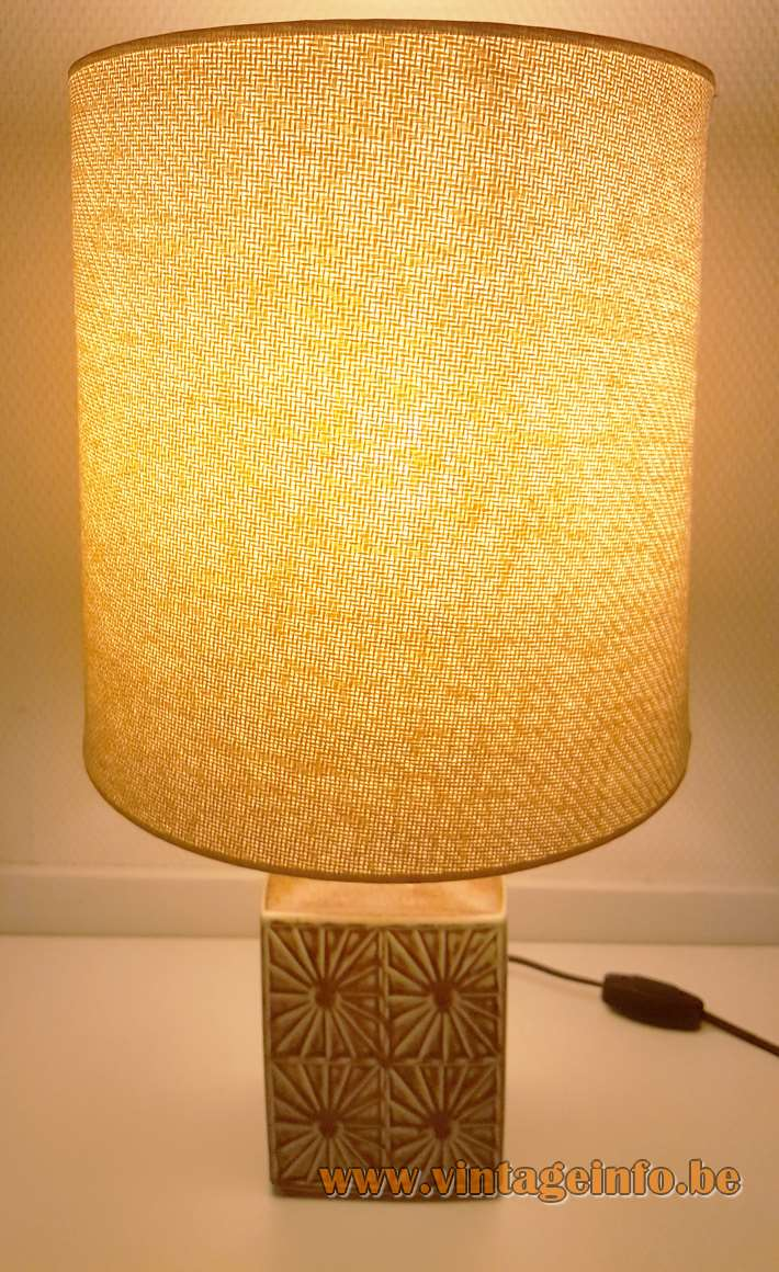 Désirée Stentøj flowers table lamp beige ochre white ceramics base floral decoration fabric lampshade Denmark 1960s