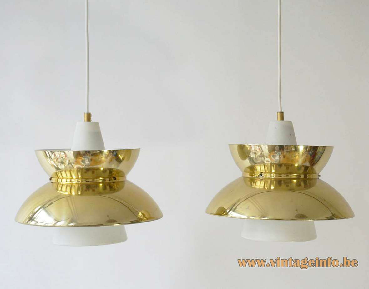 Louis Poulsen Doo-Wop pendant lamp design: Henning Klok brass lampshade white metal conical tube 1950s 1960s