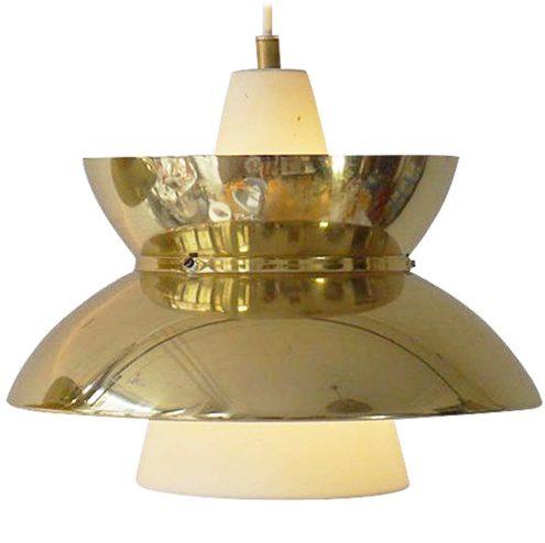 Louis Poulsen pendant lamp Doo-Wop designer: Henning Klok opal glass & brass Denmark E27 socket 1950s 1960s MCM Mid-Century Modern