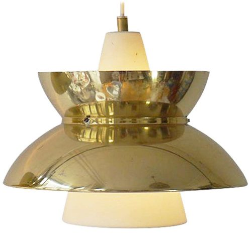 Louis Poulsen Doo-Wop pendant lamp design: Henning Klok brass lampshade white metal conical tube 1950s 1960s