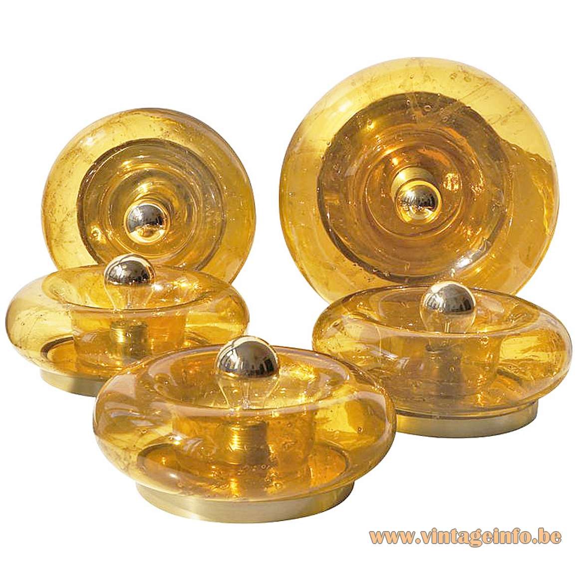 Doria amber glass flush mounts or wall lamps round donut style lights 1960s 1970s MCM Germany E27 light socket