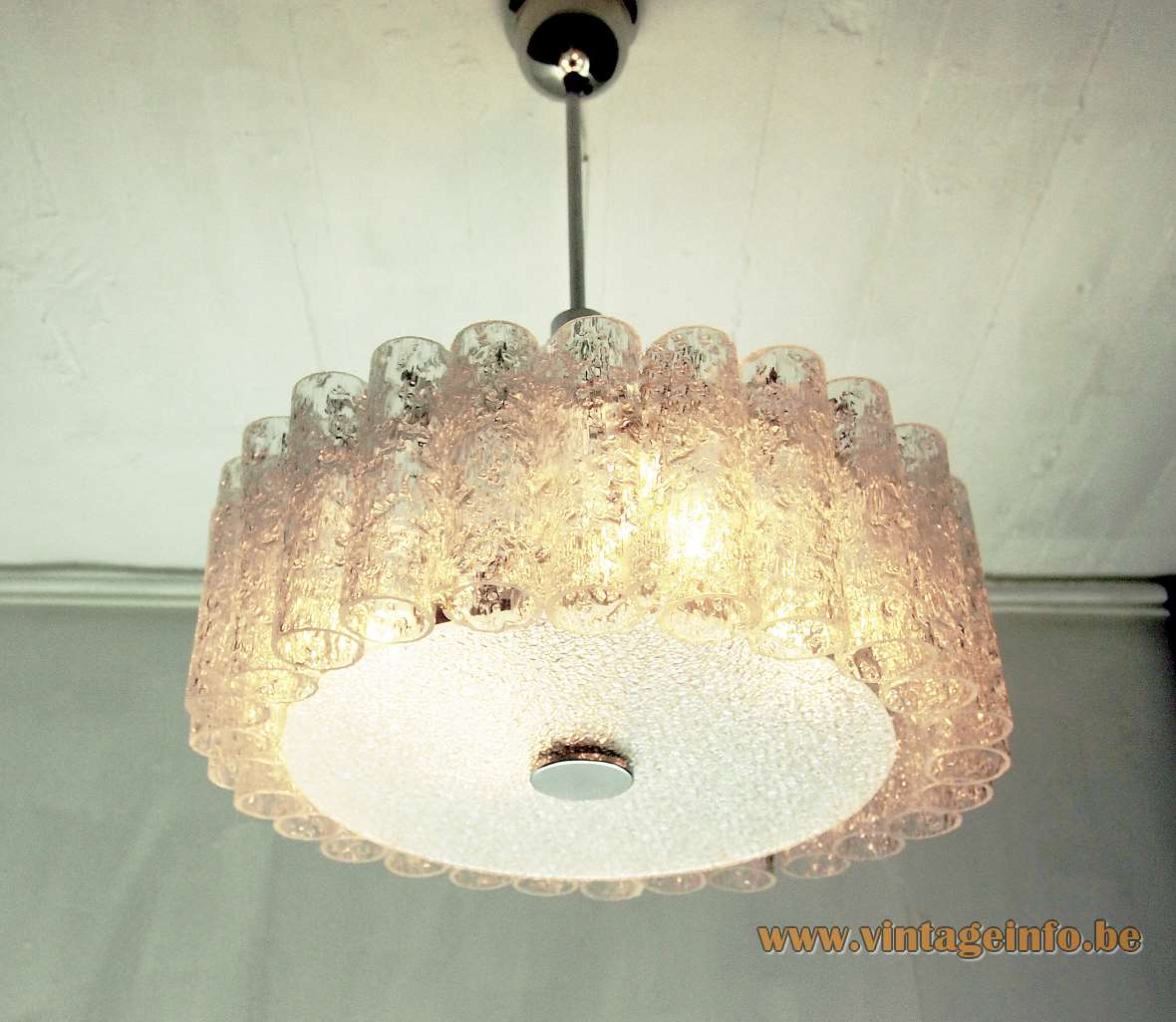DORIA crystal glass tubes chandelier round lampshade 27 pipes big disc chrome frame Germany 1960s 1970s