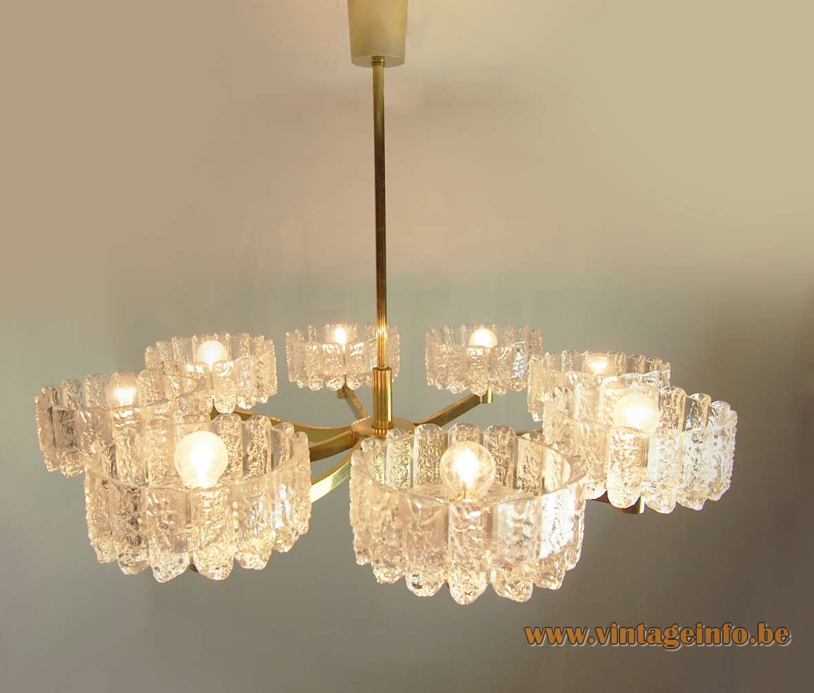 DORIA ice glass chandelier 8 ice block coupes brass rods cups 1960s 1970s Germany vintage MCM