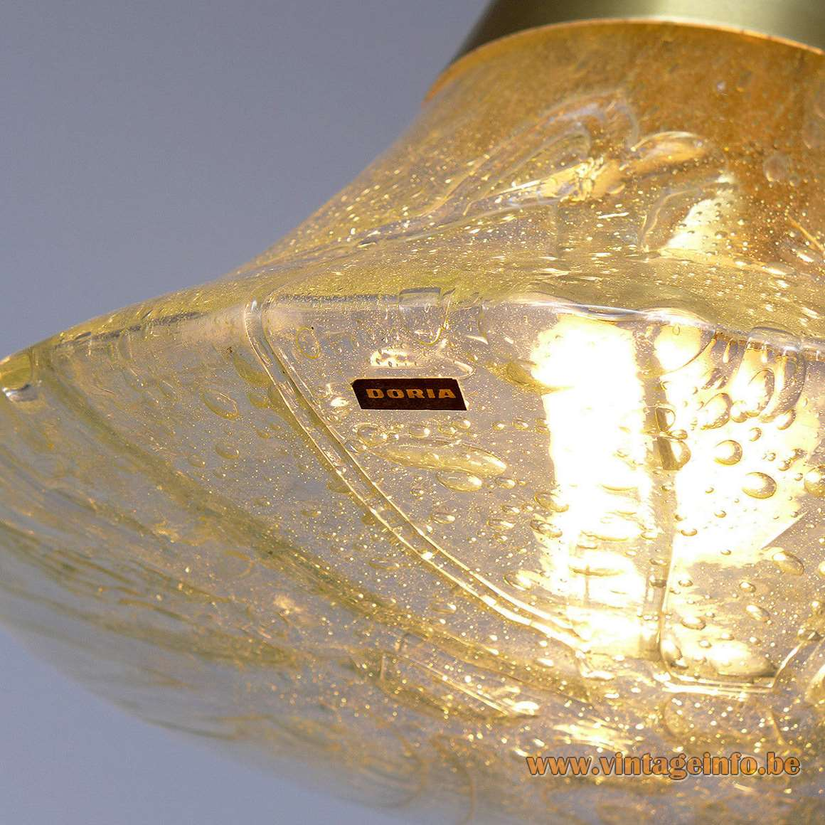 DORIA pendant lamp 7163 embossed conical clear amber veined glass aluminium tube E27 socket 1970s label