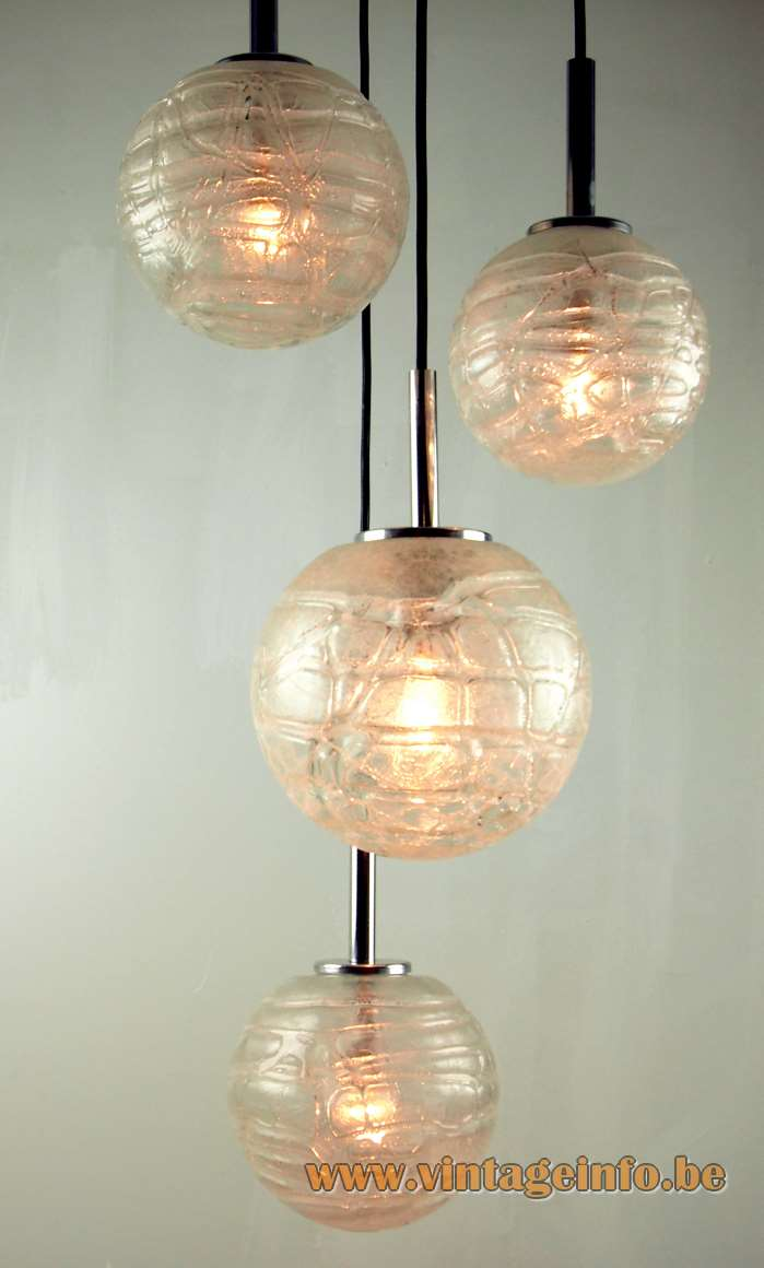 DORIA snowball cascading pendant lamps chandelier 4 glass globes & chrome parts 1960s 1970s Germany