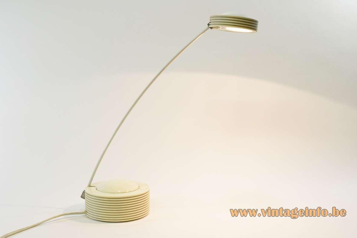 E Lite Lugano desk lamp round base lampshade long thin rod Targetti Sankey halogen 1980s 1990s
