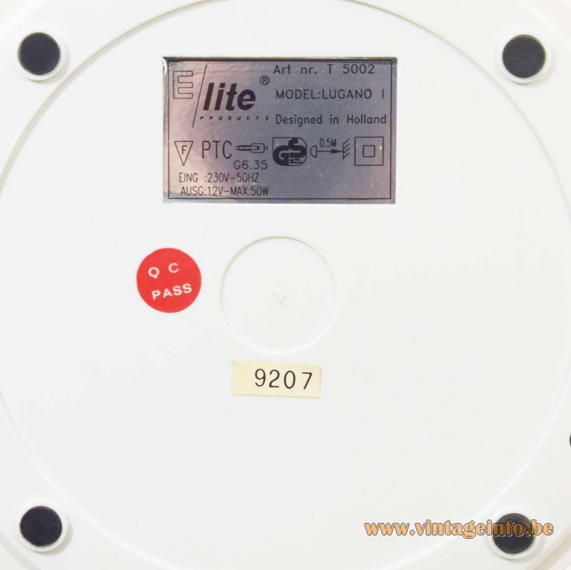 E Lite Lugano Desk Lamp - Label