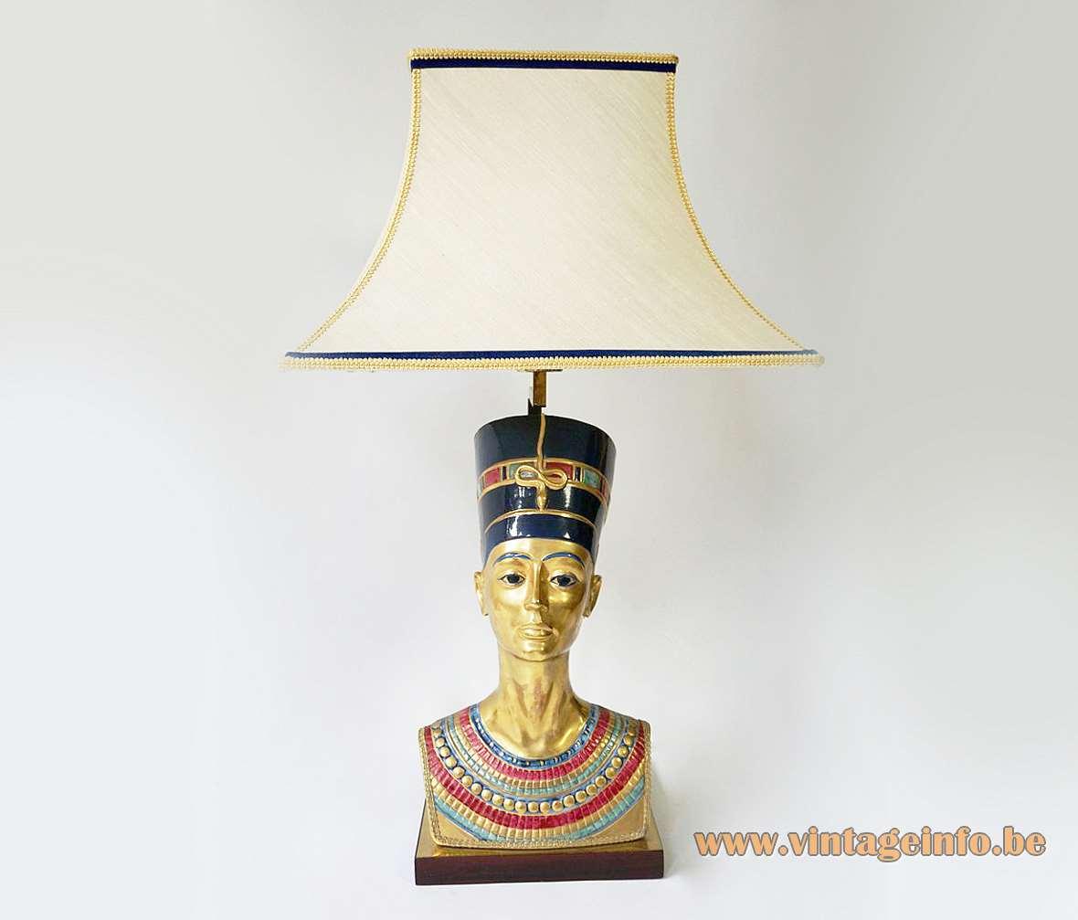 Edoardo Tasca Nefertiti table lamp Egypt Hollywood Regency light porcelain bust 1970s 1980s pharaoh