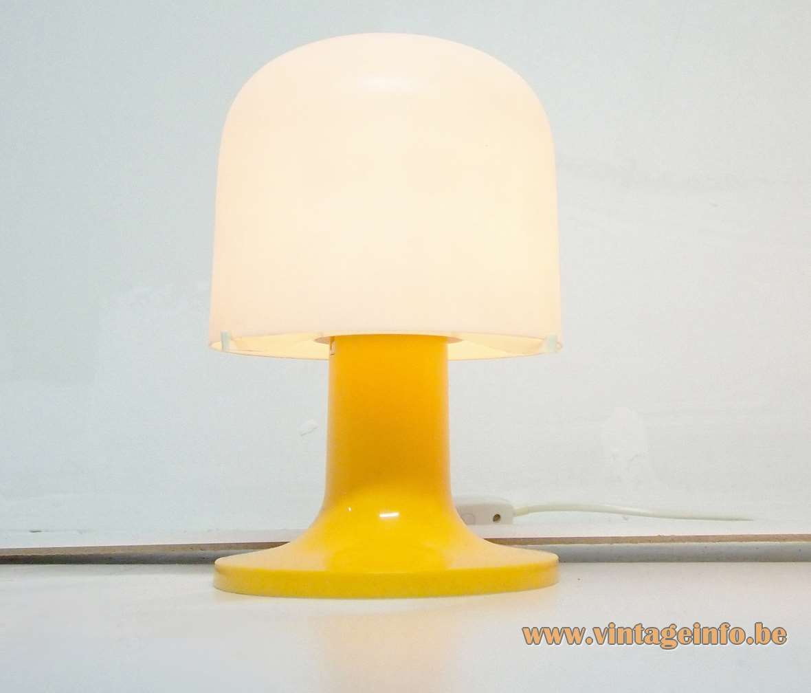 Fagerhults table lamp yellow plastic base white acrylic mushroom lampshade Sweden 1960s 1970s MCM Mid-Century Modern