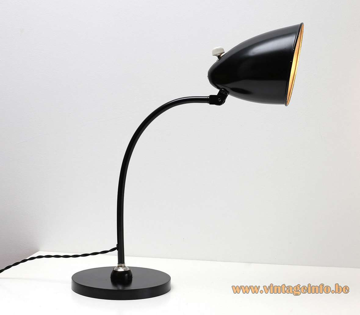 Hala Hannover desk lamp 1464 black round base curved rod bell shape lampshade 1930s 1940s Bauhaus