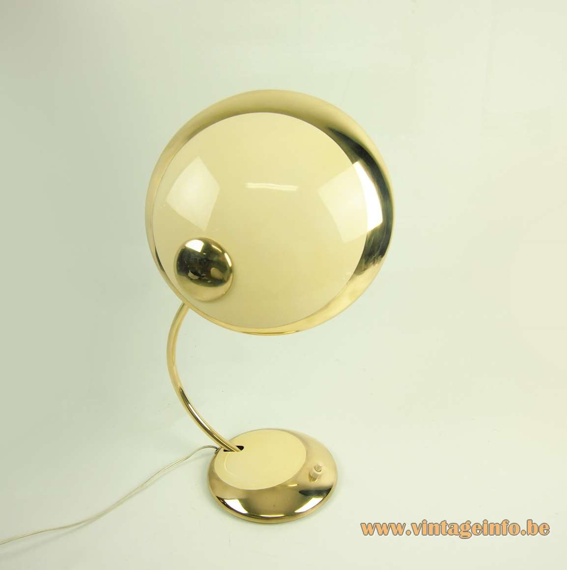 Helo Leuchten brass desk lamp curved rod round mushroom lampshade & base cream vanilla paint 1950s 1960s