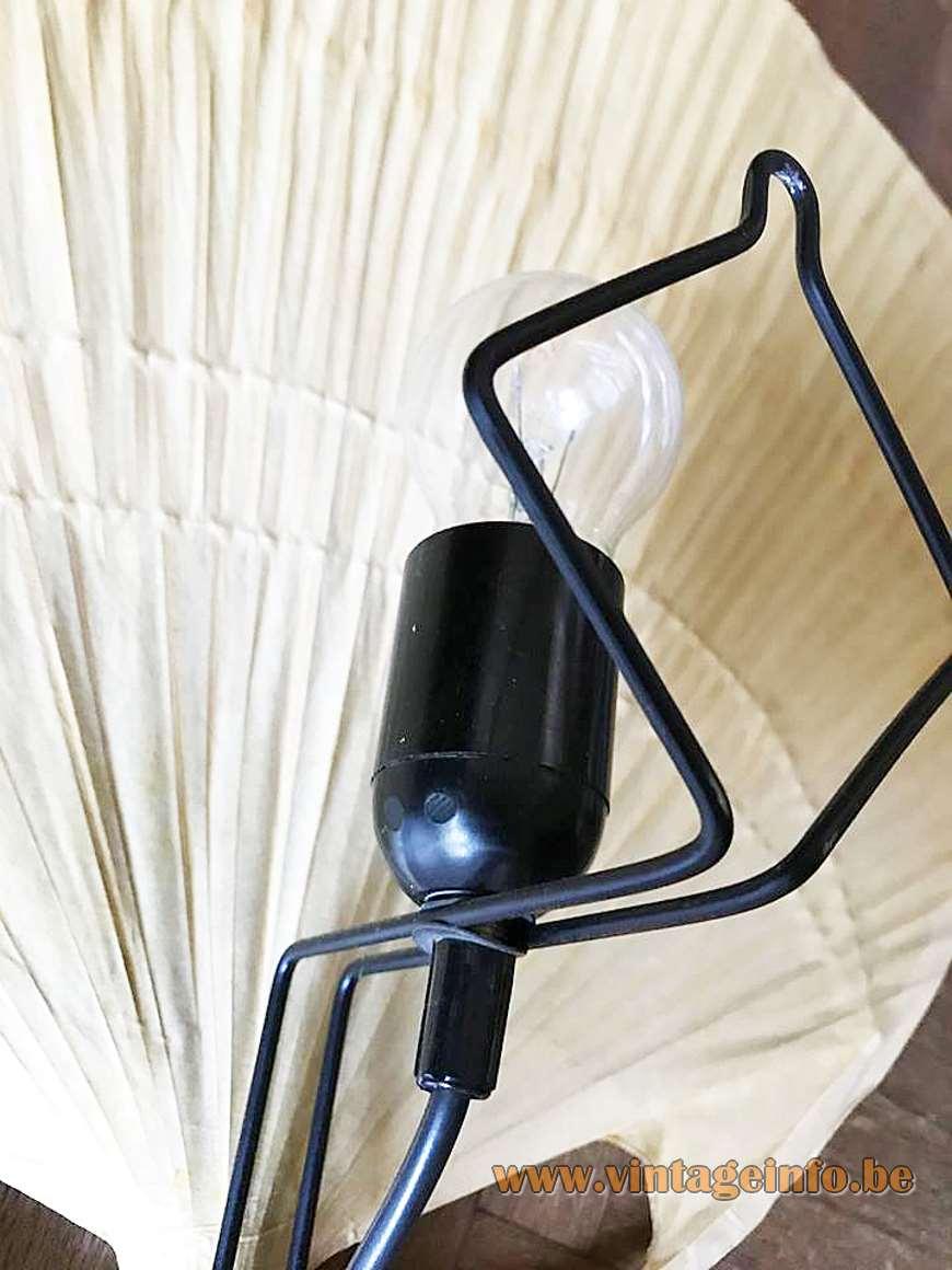 Design M Ingo Maurer Uchiwa Wall Lamp fan rice paper bamboo 1970s MCM plug