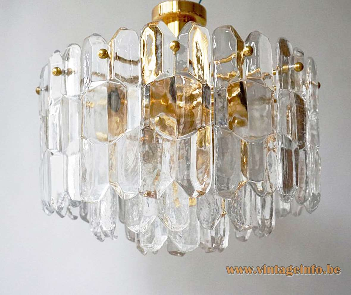 Kalmar Palazzo flush mount gold plated brass clear crystal ice glass blocks 1960s 1970s Austria Hollywood Regency