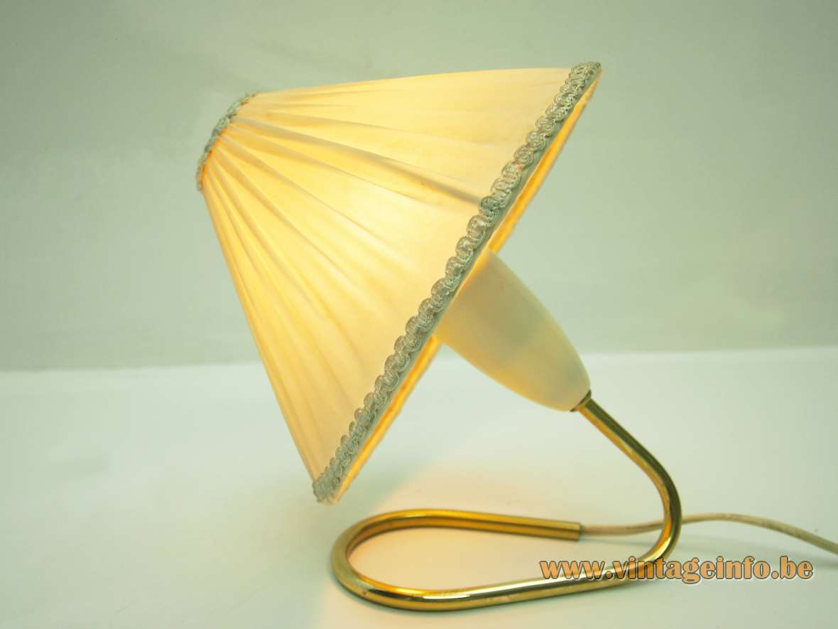 Kalmar bedside table lamp curved brass rod folded vintage conical fabric lampshade Franken Austria 1950s 1960s