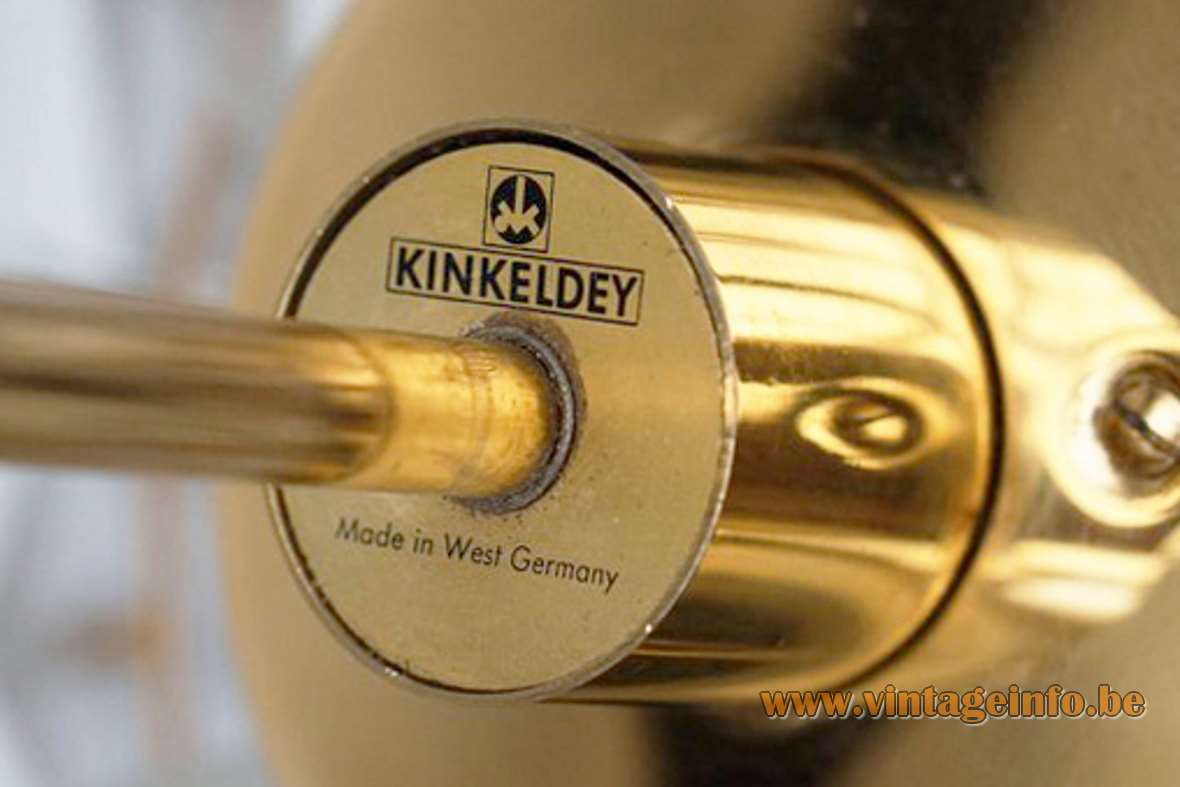 Kinkeldey faceted crystal glass chandelier 54 multifaceted parts gold plated brass frame E27 socket Germany logo