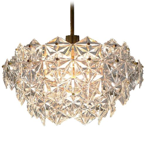 Kinkeldey faceted crystal glass chandelier 54 multifaceted crystals glod plated brass E27 light socket Germany 1960s 1970s MCM