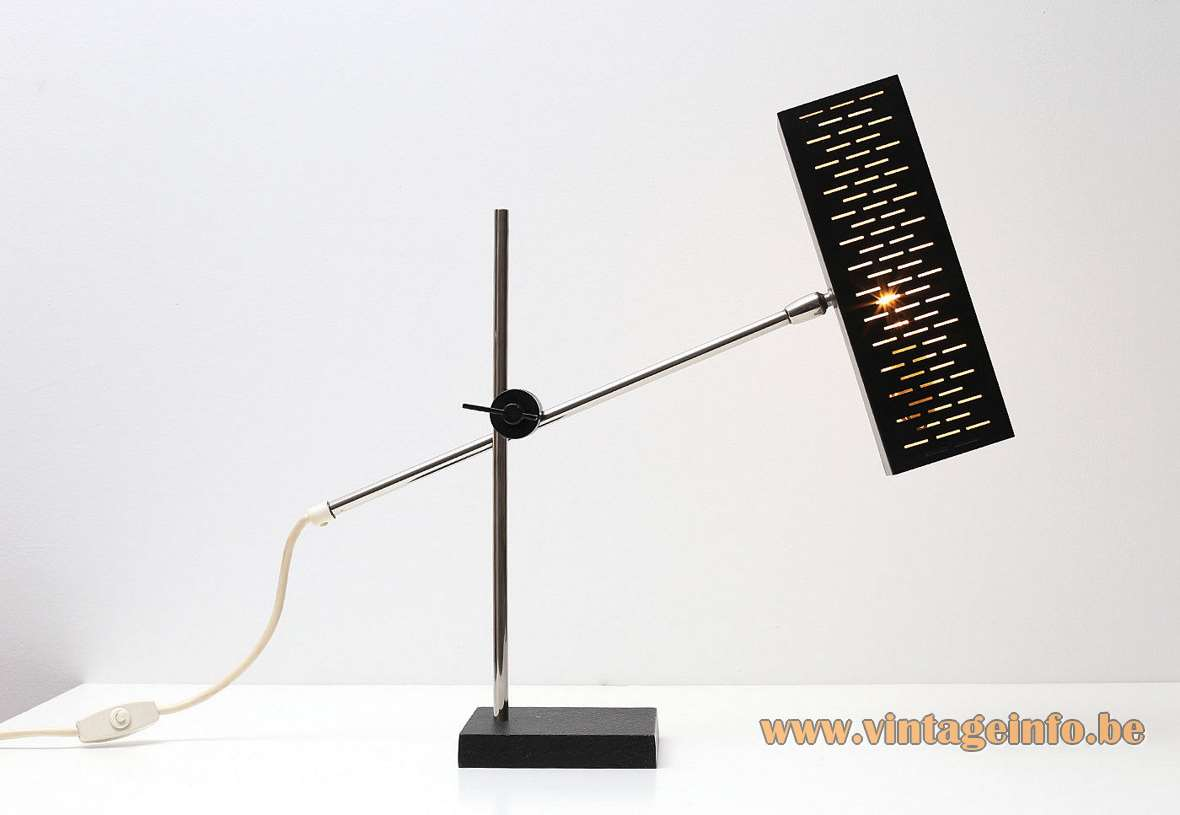 Leclaire & Schäfer desk lamp black square base rectangular perforated lampshade acrylic diffuser chrome rods 1960s vintage