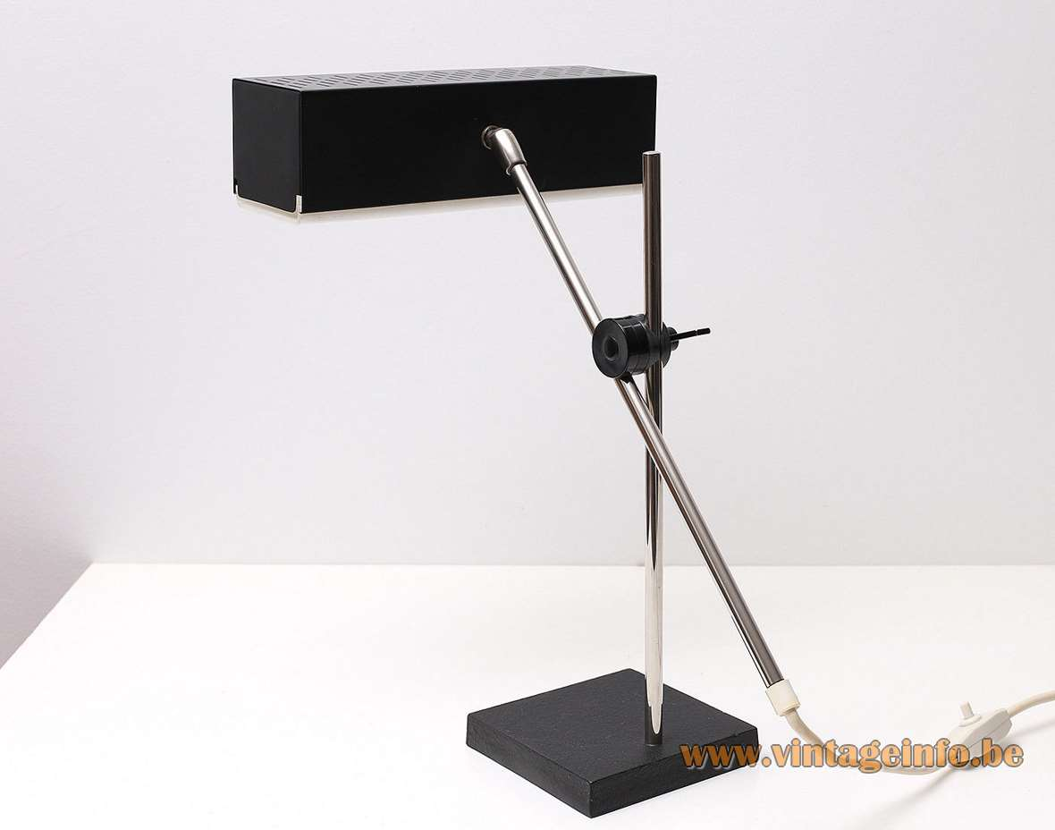 Leclaire & Schäfer desk lamp rectangular beam perforated lampshade square black base chrome rods 1960s 1970s MCM