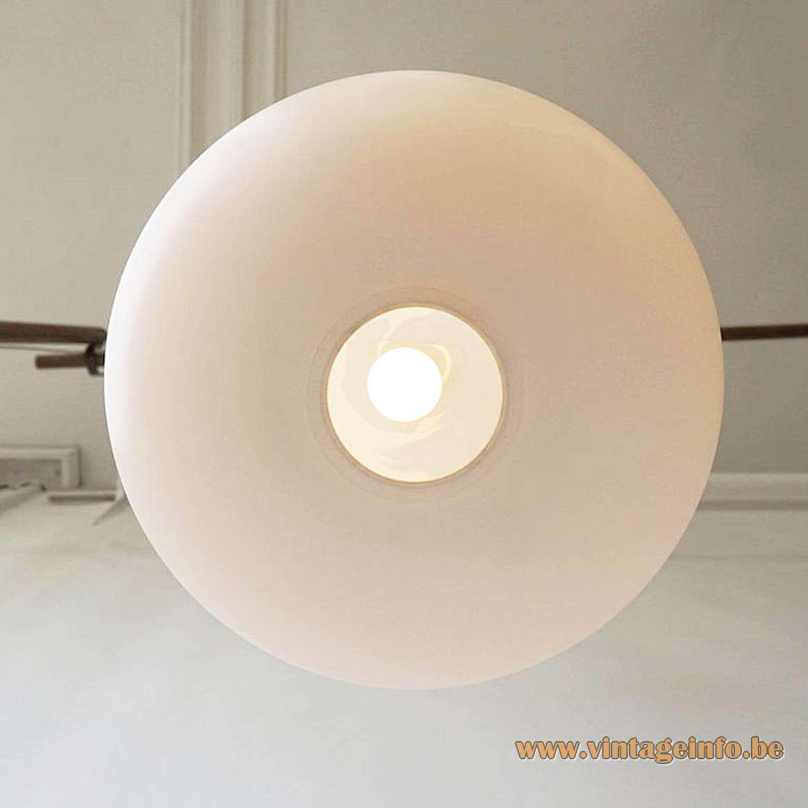 Luxus opal glass globe pendant lamp teak rod Designers: Uno & Östen Kristiansson 1960s Sweden MCM