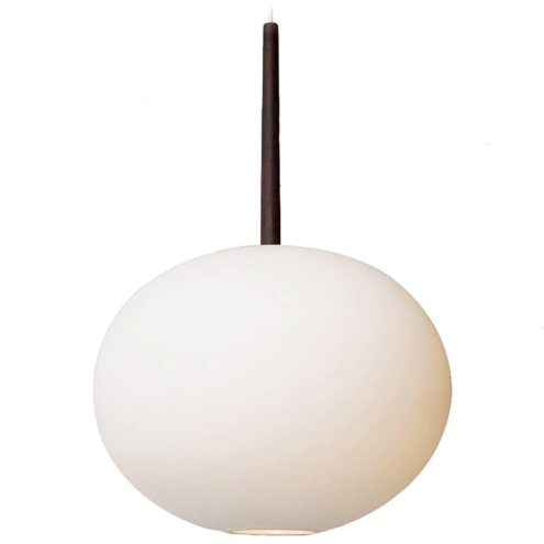 Luxus globe pendant lamp satin opal glass lampshade teak rod design: Uno & Östen Kristiansson 1960s Sweden