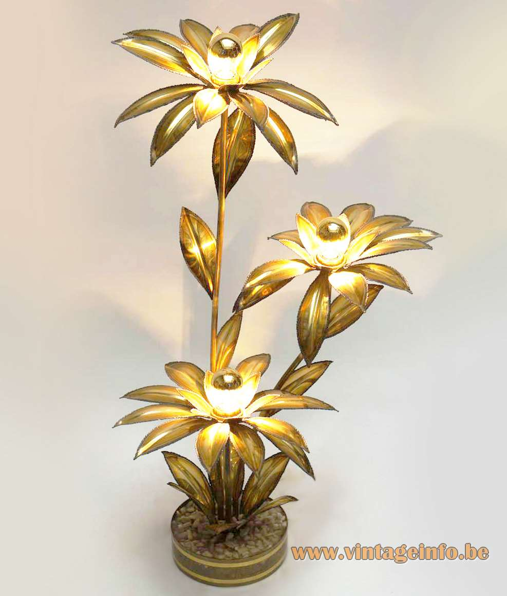 Maison Jansen flowers floor lamp round pebbles base burned brass leaves floral lampshades 1970s 1980s France
