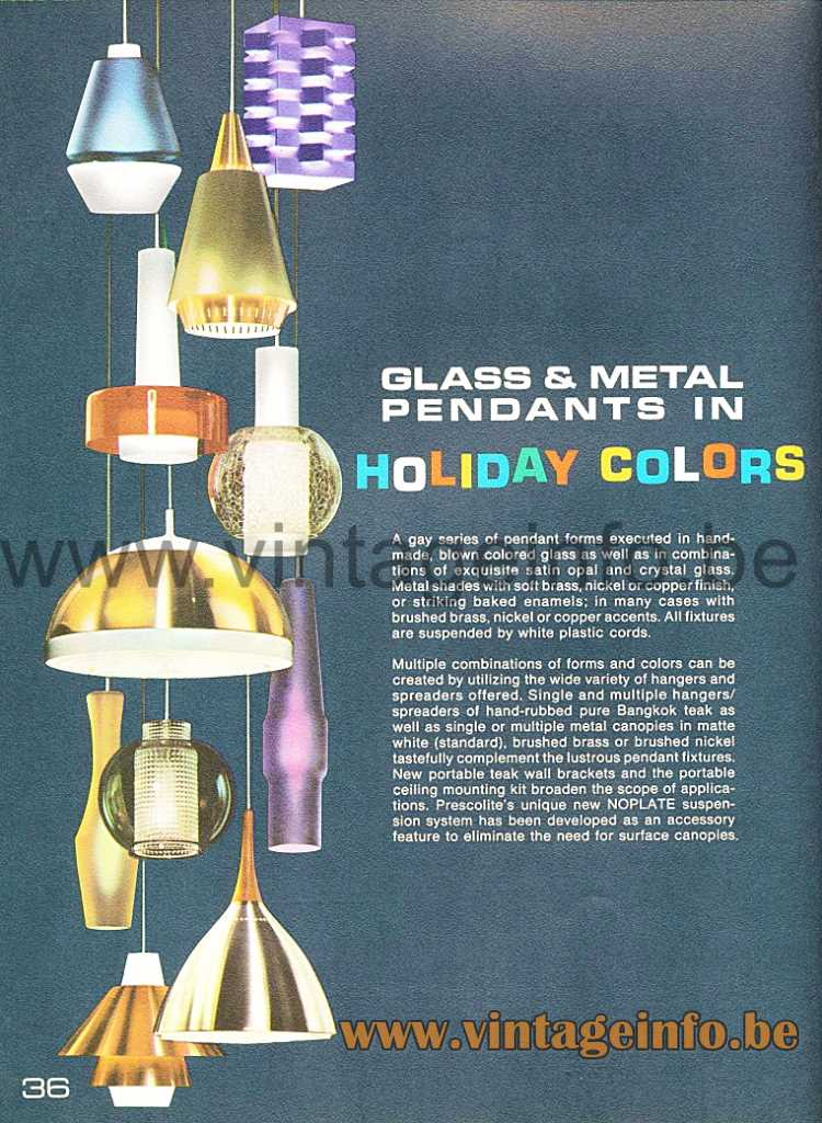Nordisk Solar Glass Globe Pendant Lamp - Prescolite 1966 Lighting Catalogue