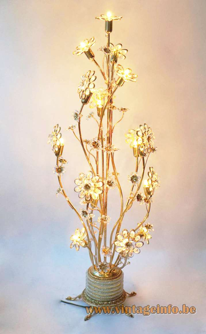 Palwa brass and glass flowers floor lamp crystal beads pearls oval circles gold kitch 1970s 1980s