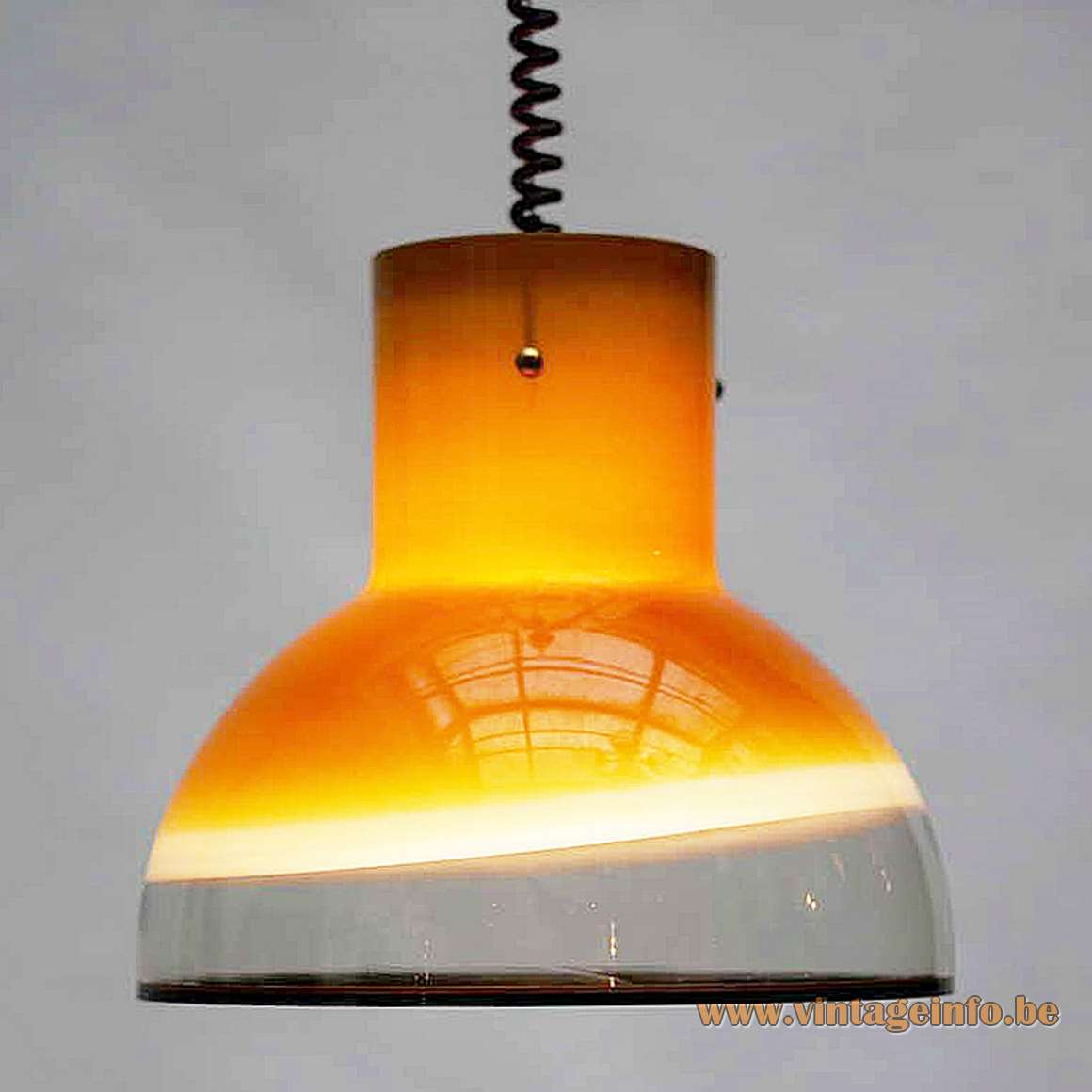 Peill + Putzler model 1415 pendant lamp brown yellow amber glass black rim rise & fall 1970s 1980s MCM