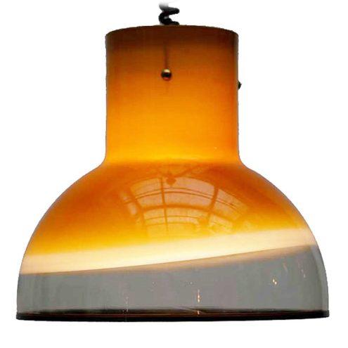Peill + Putzler model 1415 pendant lamp brown yellow amber glass black rim rise & fall 1970s 1980s MCM