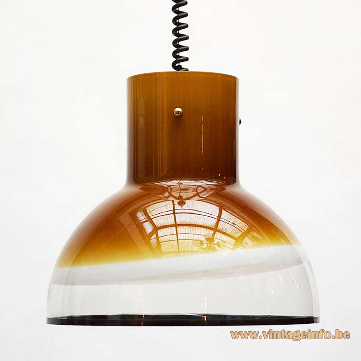 Peill + Putzler 1415 pendant lamp brown yellow amber glass black rim rise fall spiral 1970s 1980s