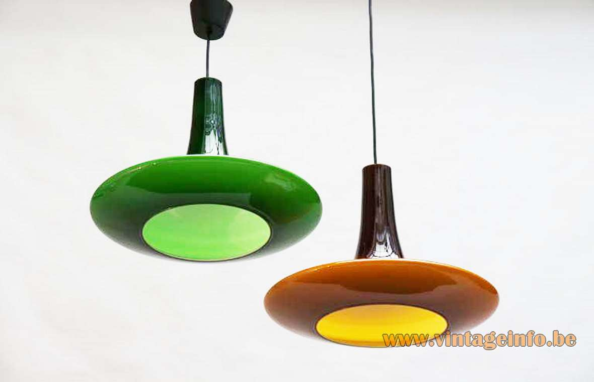Peill + Putzler UFO pendant lamp model AH11 AH12 hand blown glass 1970s Germany MCM green brown