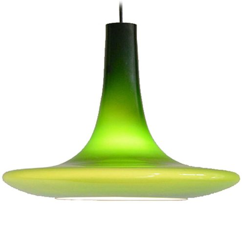 Peill + Putzler UFO pendant lamp model AH11 green glass conical disc lampshade 1970s Germany vintage MCM