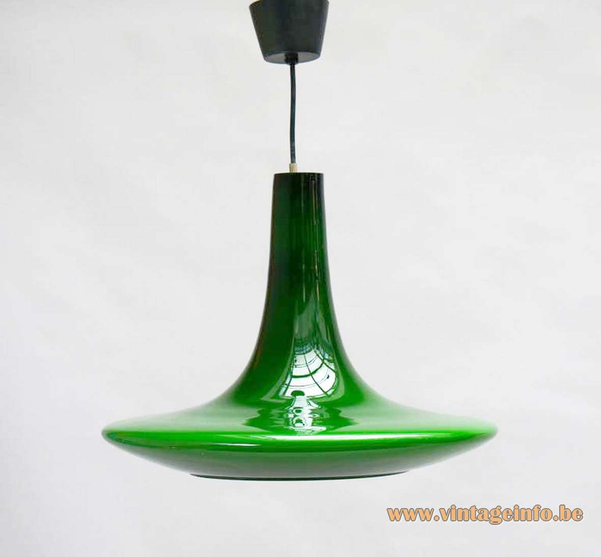 Peill + Putzler UFO pendant lamp model AH11 hand blown glass 1970s Germany MCM green