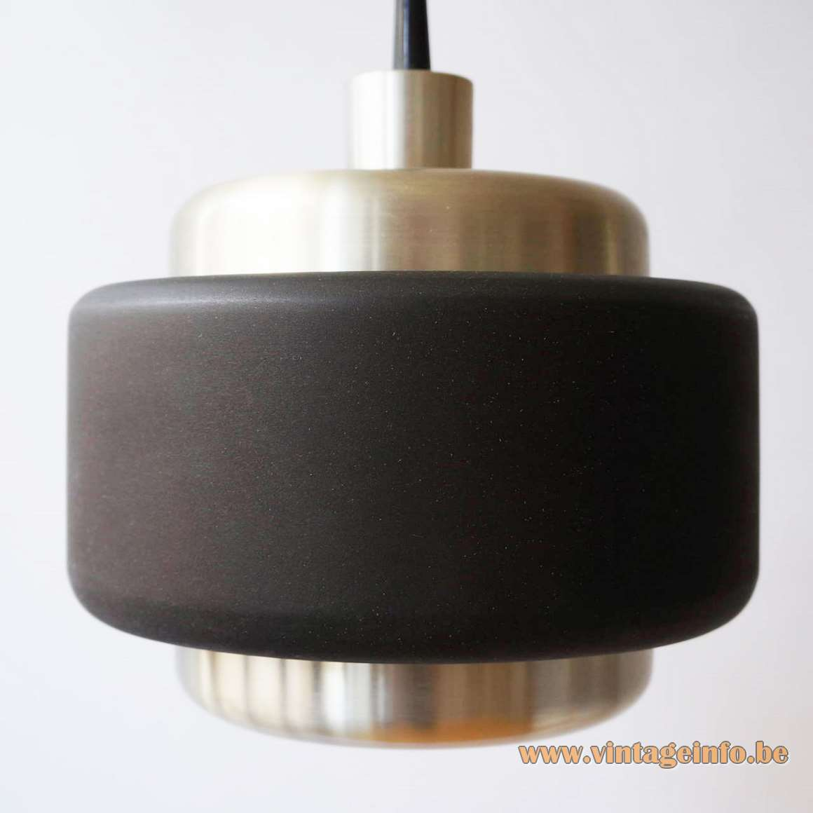 Philips round brushed aluminium pendant lamps black ring model LPG 201 1970s 1980s MCM The Netherlands E27