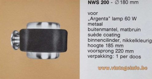 Philips round brushed aluminium wall lamp model NWS 200 1970s 1980s MCM catalogue picture